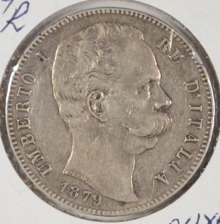 1879R SILVER 5 LIRA ITALY XF/AU