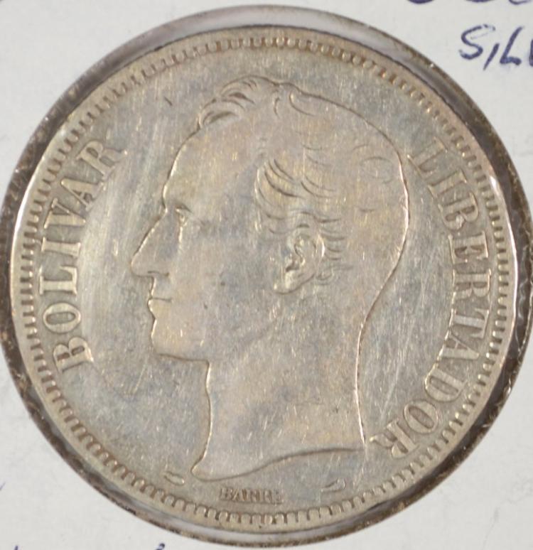 1912 SILVER 5 BOLIVARES VENEZUELA CH.VF BETTER DATE SCARCE