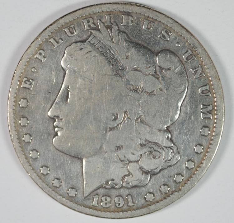 1891-CC MORGAN SILVER DOLLAR VG