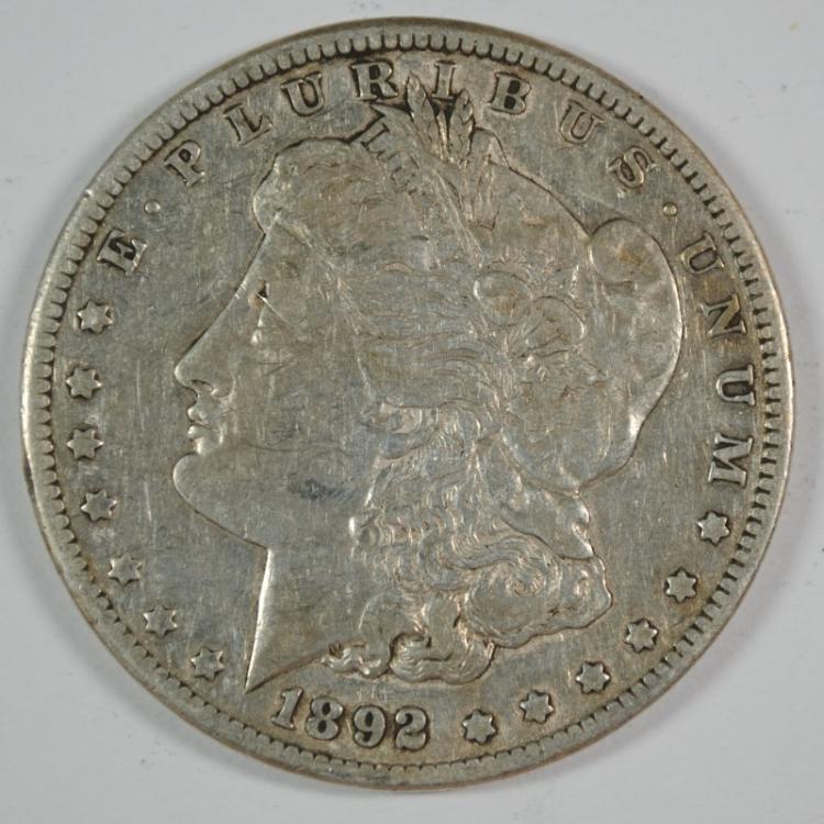 1892 CC MORGAN SILVER DOLLAR XF  KEY COIN