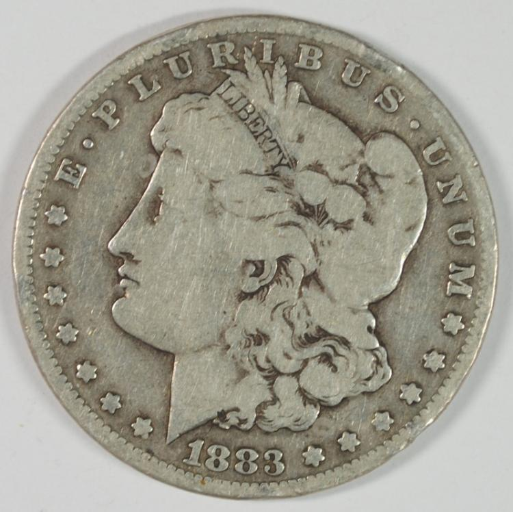 1883-CC MORGAN SILVER DOLLAR VG RIM NICKS