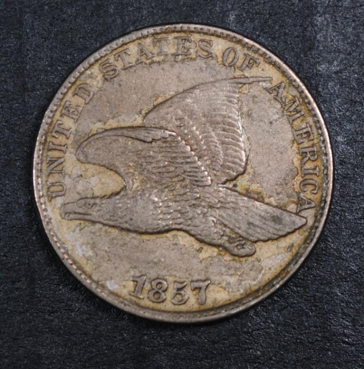 1857 FLYING EAGLE ONE CENT ORIGINAL AU NICE