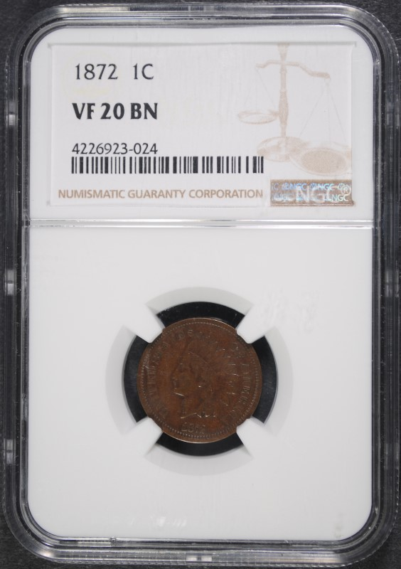1872 INDIAN CENT NGC VF-20 BN
