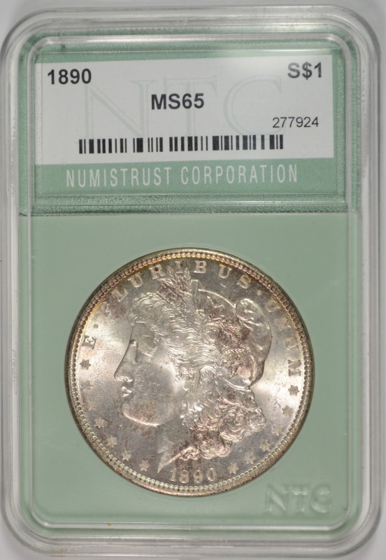1890 MORGAN SILVER DOLLAR NTC GRADED GEM BU+