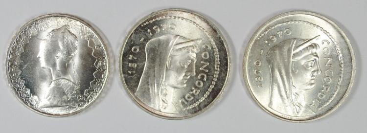 3 COIN LOT ITALY, 1958 500 LIRE, GEM BU, 83.5% SILVER, .2953, KM #98,