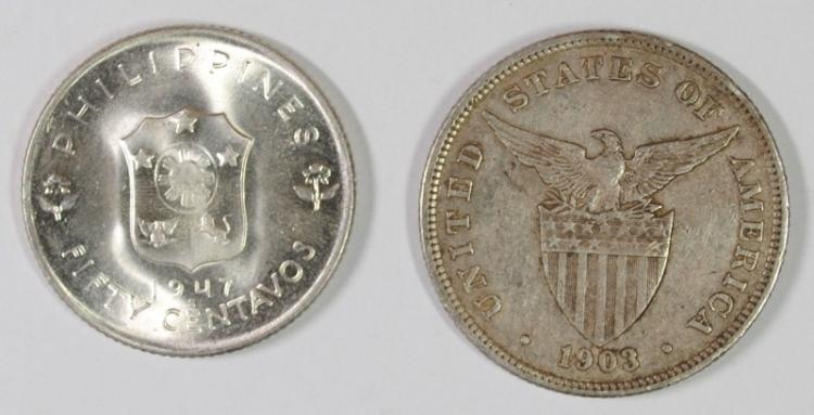2 COIN LOT PHILIPPINES, 1947 S 50 CENTAVOS, BU, 75% SILVER, .2411 OZT, KM #184