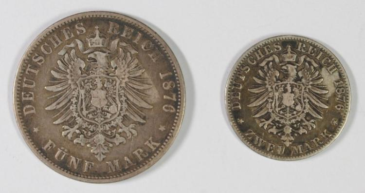 2 COIN LOT PRUSSIA, 1876 A, 2 MARK