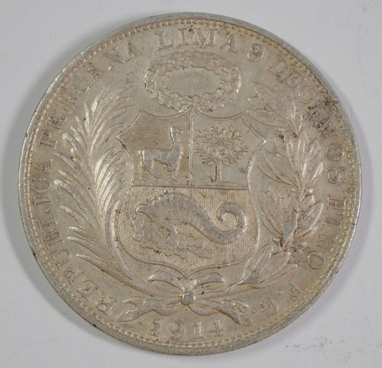 1914 PERU UN SOL, 90% SILVER, .7234 OZT, KM#196.26