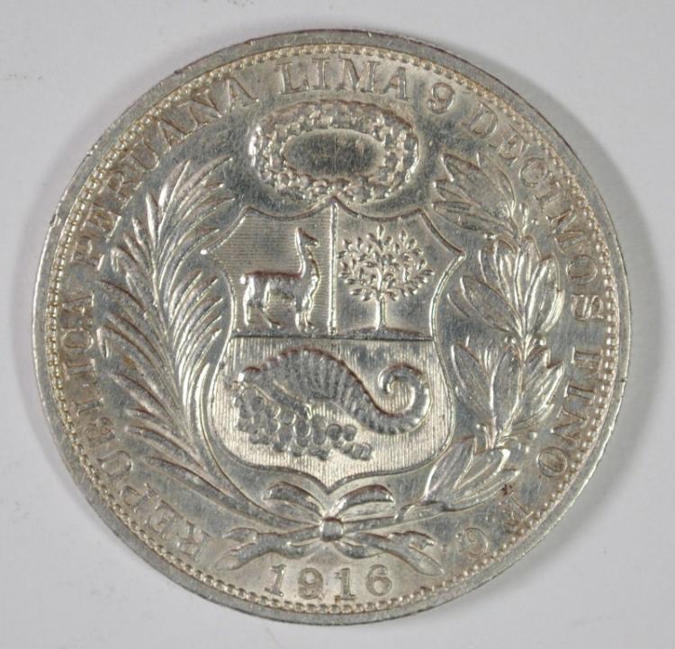 1916 PERU SOL, XF, 90% SILVER, .7234 OZT