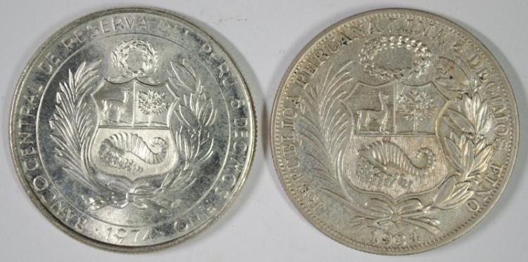 2 COIN LOT PERU,1934 UN SOL, 50% SILVER, .4019 KM# 218.2