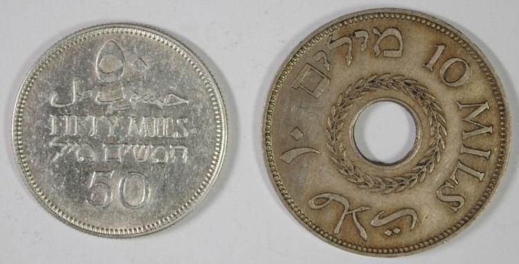 2 COIN COIN LOT PALESTINE, 1933 10 MILS, KM #4, 1935 50 MILS  72% S.1350 oz km#6