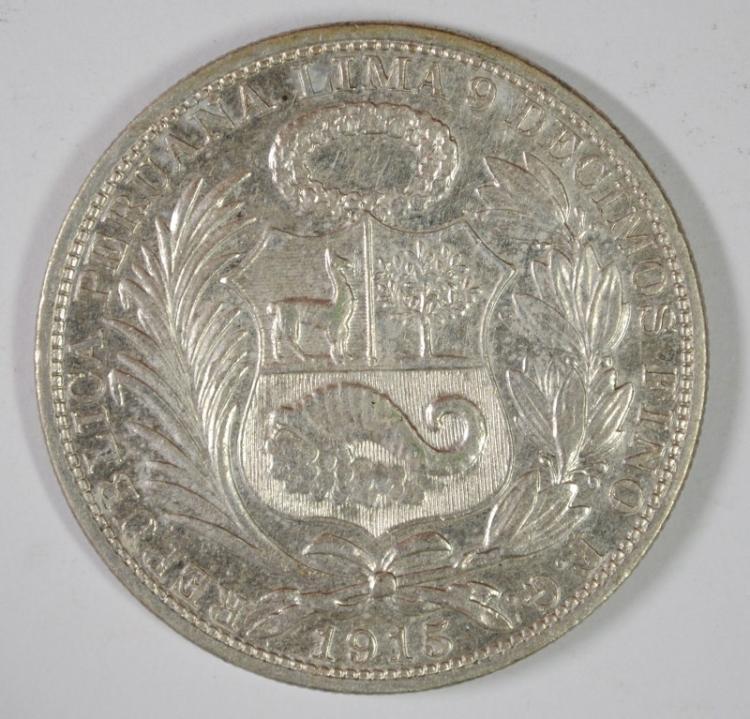 1915 PERU SOL 90% SILVER .7234 OZT KM#