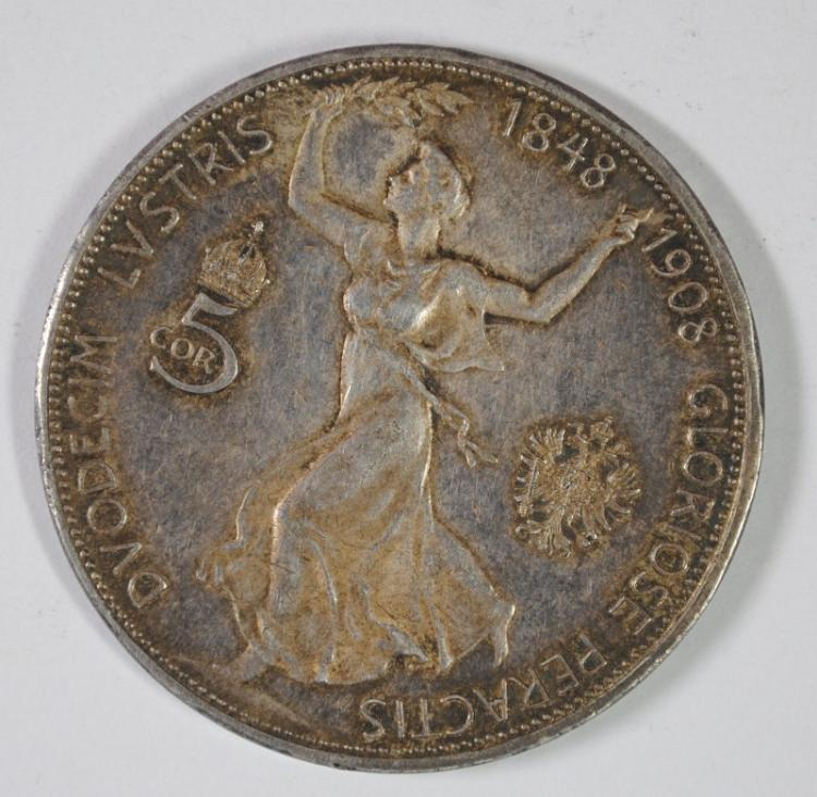 AUSTRIA 1908 1 YEAR TYPE 5 CORONA, XF 90% SILVER .694 OZ KM#2809