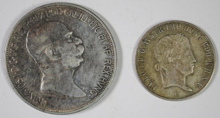 2 COIN LOT, 1908 AUSTRIA, 5 CORONA, 90% SILVER, .6945 OZ, KM #2809