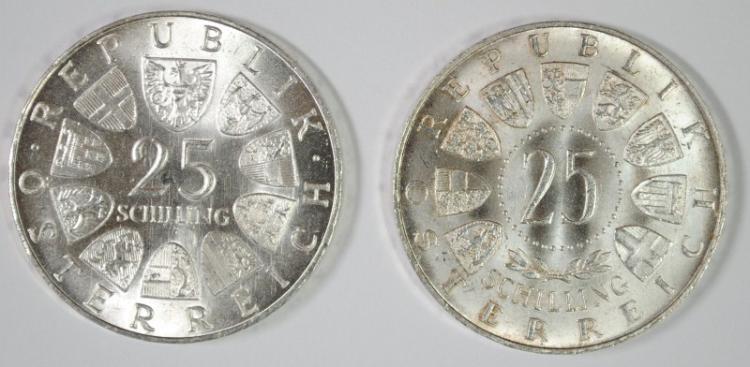 2 COIN LOT, AUSTRIA 1968 25 SCHILLING, BU, 80% SILVER, .3344 OZ, KM#2903