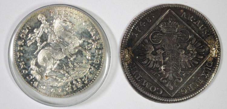 2 COIN LOT, AUSTRIA 1748 30 KREUZER, JEWELRY PIECE, SILVER GRAZ MINT, KM #1939