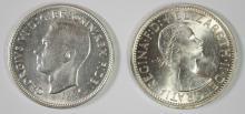 2 COIN LOT AUSTRALIA 1951 FLORIN, ONE YEAR TYPE, BU, 50% SILVER .1818 OZ, KM #47