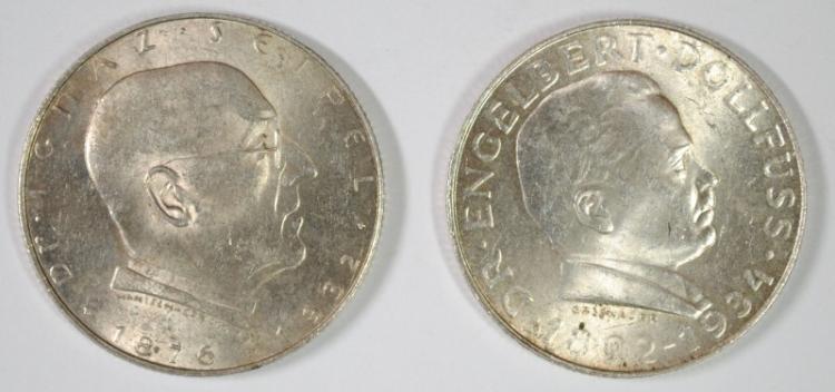 2 COIN LOT, 1934 AUSTRIA 2 SCHILLINGS, BU, 65% SILVER, .2469 OZ, KM#2852