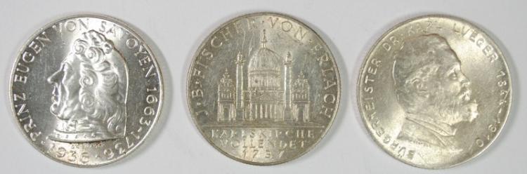 3 COIN LOT, 1935 AUSTRIA 2 SCHILLING, BU, 64% SILVER, .2469 OZ, KM# 2855