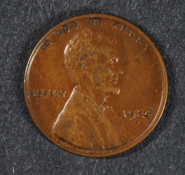 1924-D LINCOLN CENT, XF+  better date