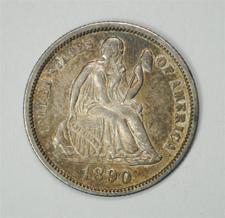 1890 SEATED LIBERTY DIME, CH BU