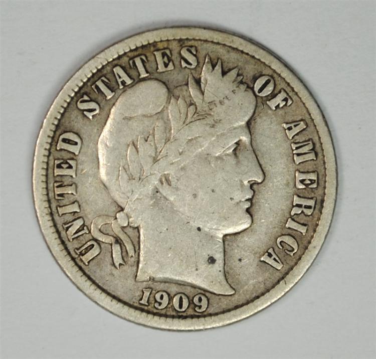 1909-S BARBER HEAD DIME FINE+
