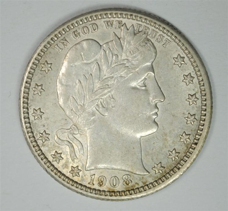 1908 BARBER QUARTER CHOICE  AU+  NICE