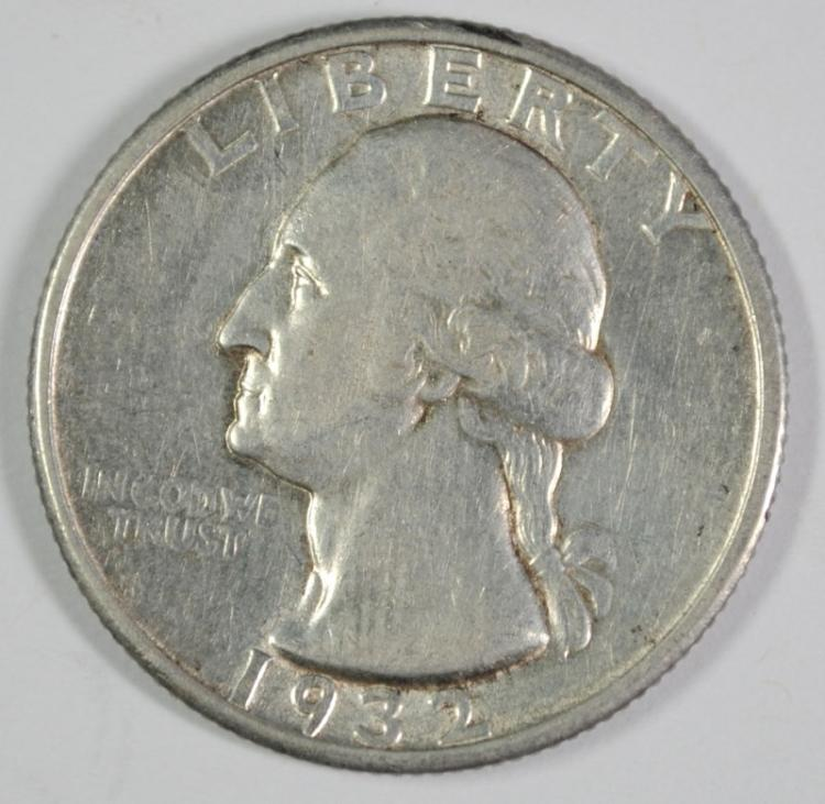 1932-S WASHINGTON QUARTER, XF/AU  KEY COIN!