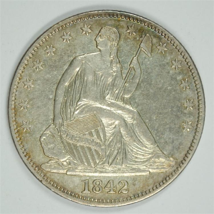 1842-O SEATED HALF DOLLAR, CHOICE BU-