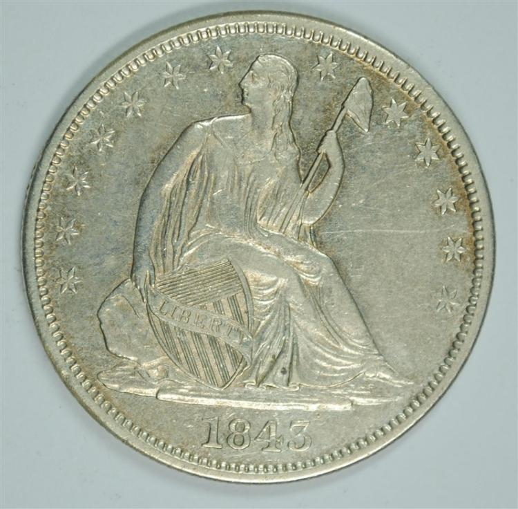 1843-O SEATED HALF DOLLAR, AU/BU SEMI-PL!!