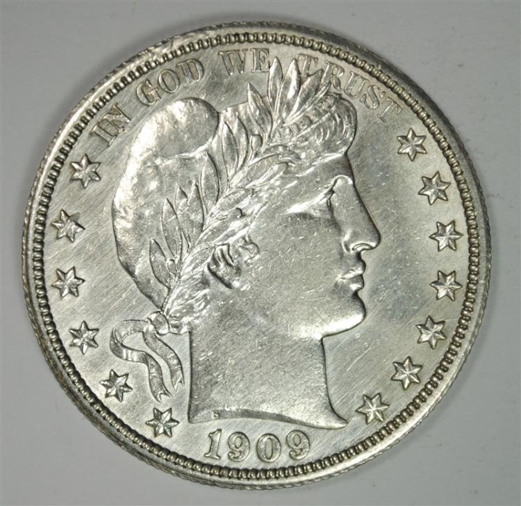 1909 BARBER HALF DOLLAR, BU, HAS BEEN CLEANED BUT NICE!!