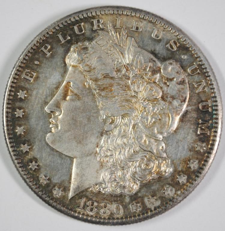 1880-S MORGAN SILVER DOLLAR, CHOICE BU PL  COLOR