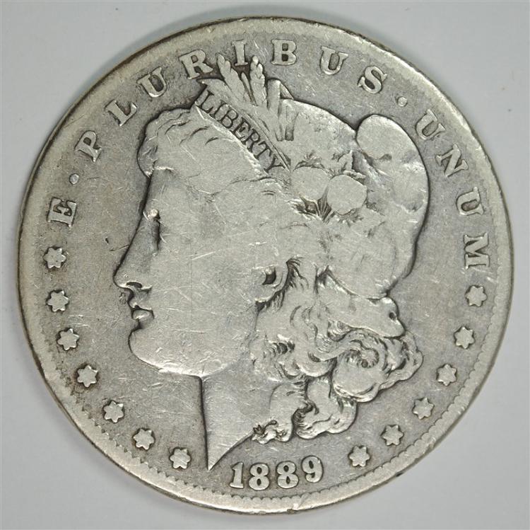 1889-CC MORGAN SILVER DOLLAR, VG/FINE KEY DATE!