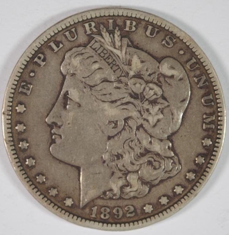 1892-S MORGAN SILVER DOLLAR, VF KEY DATE