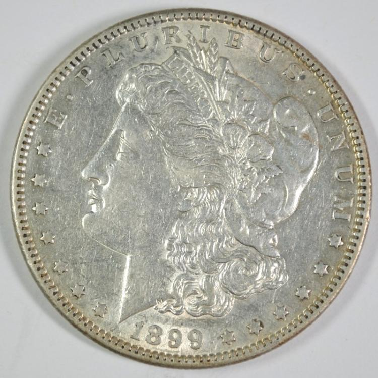 1899-S MORGAN SILVER DOLLAR, AU