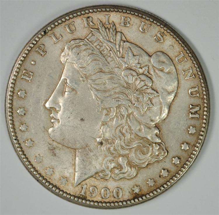 1900-S MORGAN SILVER DOLLAR, AU/UNC ORIGINAL