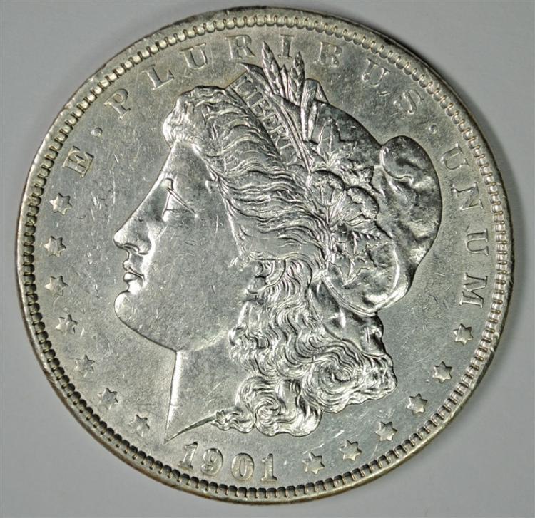 1901 MORGAN SILVER DOLLAR, CHOICE AU