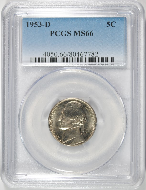 1953-D JEFFERSON NICKEL PCGS MS-66