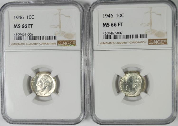 ( 2 ) 1946 ROOSEVELT DIMES, NGC MS-66 FULL TORCH