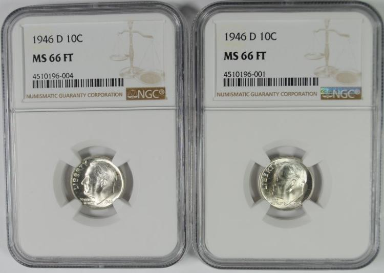 ( 2 ) 1946-D ROOSEVELT DIMES, NGC MS-66 FULL TORCH