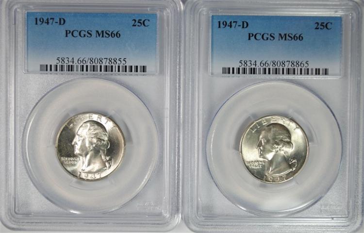 2 - 1947-D WASHINGTON QUARTERS PCGS MS-66