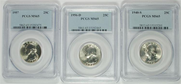 1940-S 56-D & 57 WASHINGTON QUARTERS, PCGS MS-65