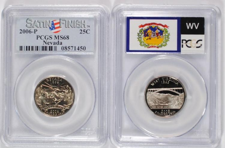 2 - PCGS STATE QUARTERS: 2005-S WEST VIRGINIA PR-70 DCAM & 2006-P NEVADA MS-68