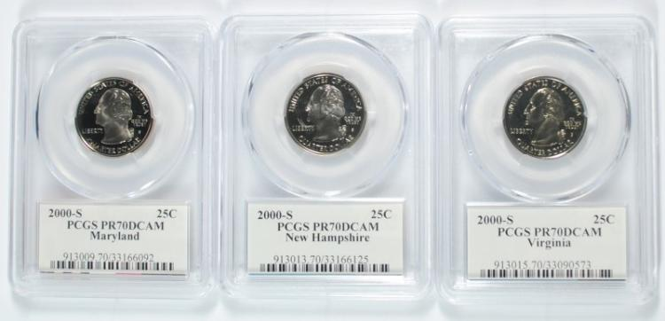 2000-S MARYLAND, NEW HAMPSHIRE & VIRGINIA STATE QUARTERS, PCGS PR-70 DCAM