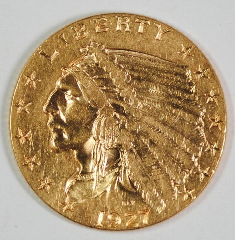 1927 $2.50 GOLD INDIAN HEAD, CHOICE BU