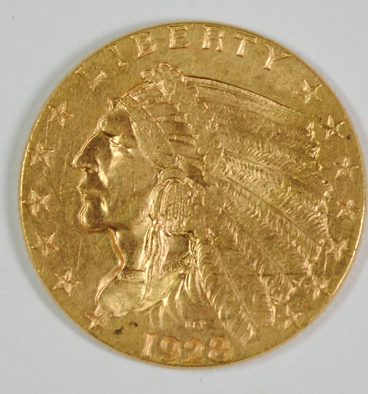 1928 $2.50 GOLD INDIAN HEAD, CHOICE BU+