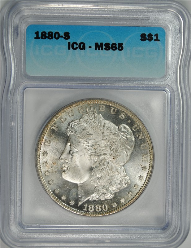 1880-S MORGAN SILVER DOLLAR ICG MS-65
