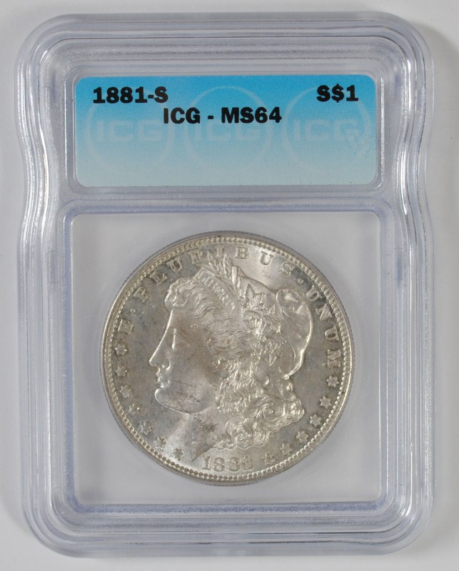 1881-S MORGAN SILVER DOLLAR, ICG MS-64