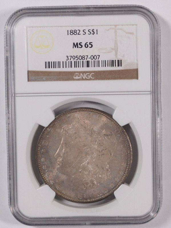 1882-S MORGAN SILVER DOLLAR, NGC MS-65 GEM COLOR!