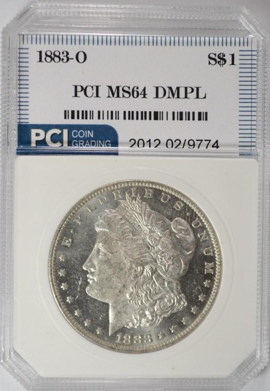 1883-O MORGAN SILVER DOLLAR, PCI GEM BU DMPL
